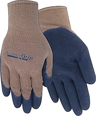 Red Steer PowerGrip A300B Rubber Palm Full-Fingered Work & General Purpose Glove, Tan/Navy Blue [PRICE is per PAIR]
