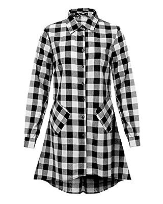 Mixfeer Women's Casual Oversize Loose Asymmetrical Long Sleeve Plaid Tunic T Shirt Dress
