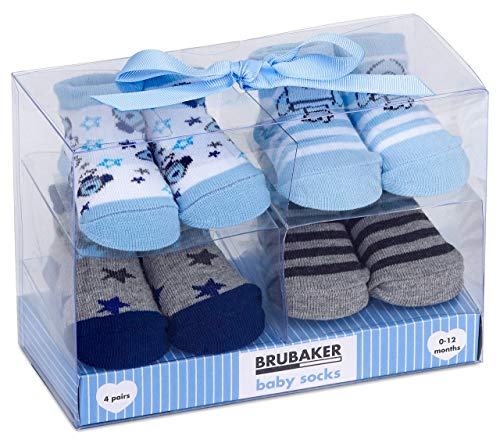 BRUBAKER - Chaussettes bébé - Lot de 4 Paires - Garçon/Fille 0-12 Mois - Coffret cadeau Naissance/Baptême - Fusées/Étoiles