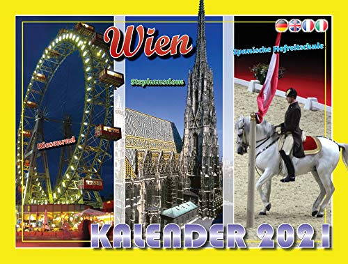 Wandkalender Wien 2021 Supersize | Spiralbindung 33x25cm | Monatskalendarium in 4 Sprachen (DE, EN, FR, IT)