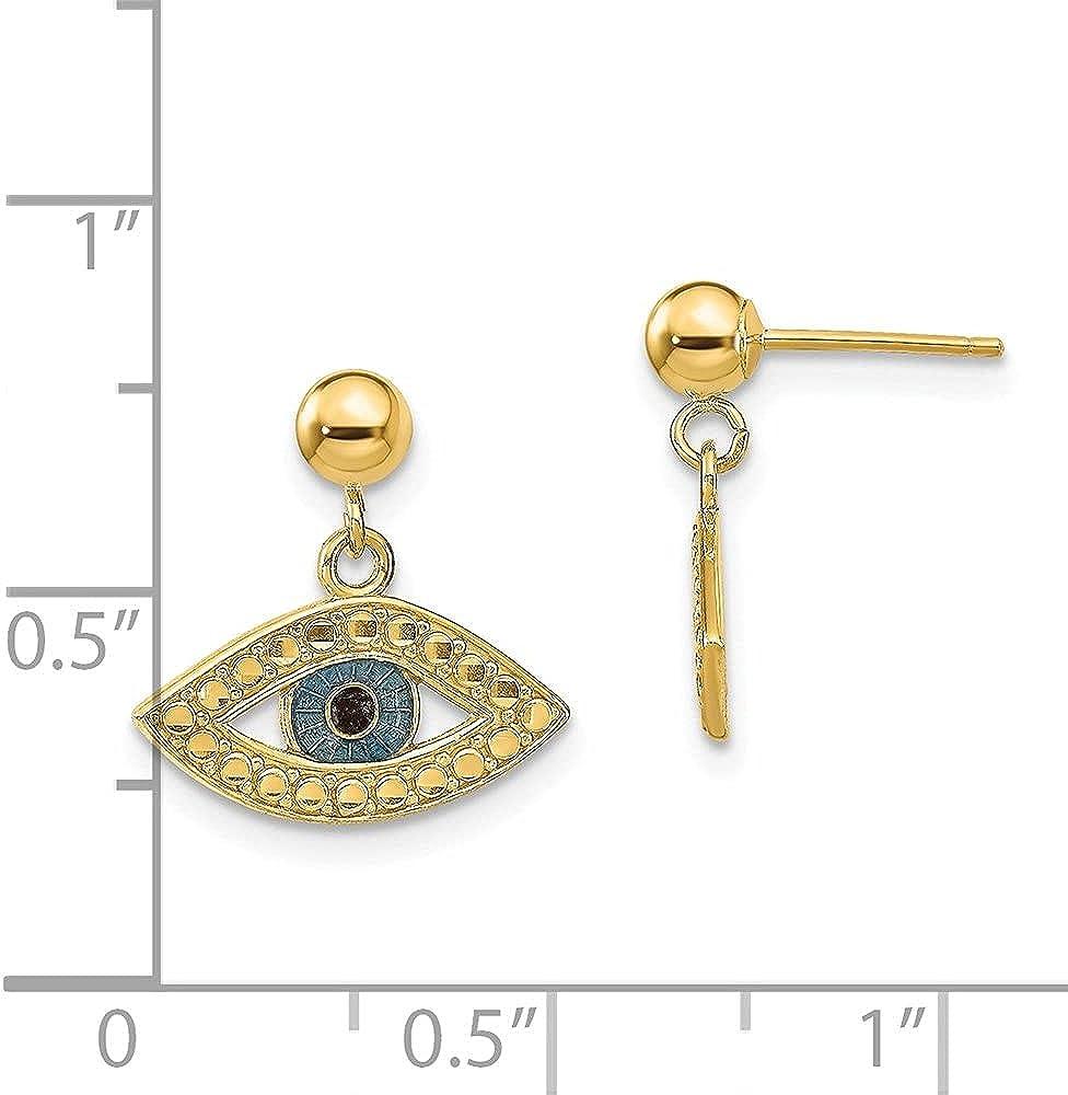 14k Yellow Gold Diamond-cut Enameled Eye Dangle on Ball Stud Dangle Earrings (L-15 mm, W-15 mm)