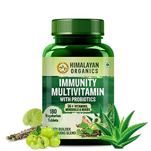 Himalayan Organics Immunity Multivitamin with Probiotics (180 Veg Tablets) with Vitamin C, D, K2, Zinc, Ginseng, Giloy, Biotin For Men & Women