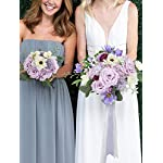 rinlong wedding bouquets for bride purple bridal bouquet of flowers for wedding artificial flowers silk rose propose proposal tossing bouquets wedding ceremony bridal shower party proposal decoration…