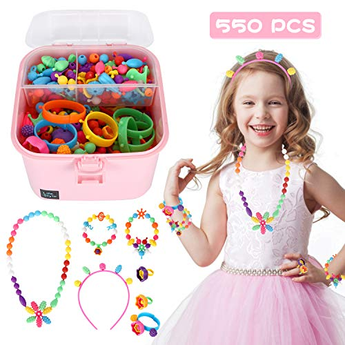 Ucradle Perline Pop, 550+ PCS Bambini Perline Kit di Perline Bambina Set Pop Perline Colorate Creazione di Gioielli DIY Bracciali collane e Anelli creativi