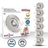 B.K.Licht I 6er Set LED Bad Einbauleuchten I Ultra Flach 25mm I Ø90mm I Matt-Nickel I 6 x 5W LED...