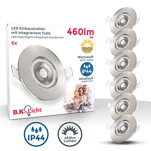B.K.Licht I 6er Set LED Bad Einbauleuchten I Ultra Flach 25mm I Ø90mm I Matt-Nickel I 6 x 5W LED Platinen I 460 Lumen I 3.000K Warmweiß I IP44 I Bad- Einbaustrahler