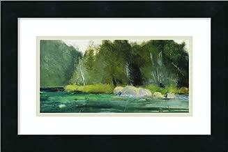 Framed Wall Art Print Lily Pond and Dark Woods by Martha Wakefield 18.00 x 12.00