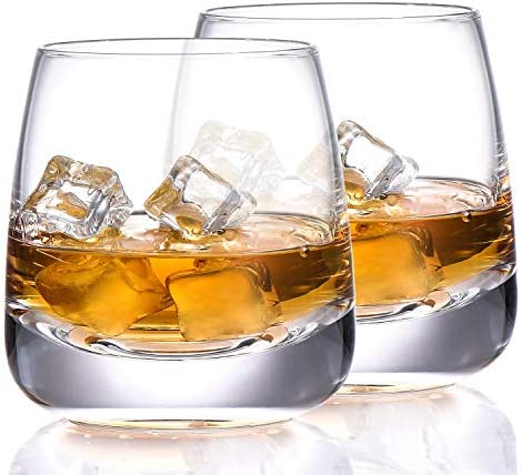 TOOWELL Old Fashioned Whiskey Glass Set of 2 Cocktails Glasses Hand Blown Scotch Glass Tumblers product image