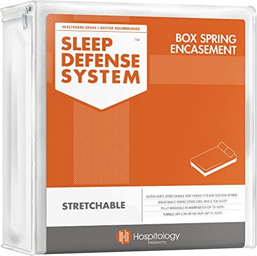HOSPITOLOGY PRODUCTS Zippered Box Spring Encasement - Sleep Defense System - Split King - 39 W x 80 L - Set of 2 for Split Box Spring ONLY