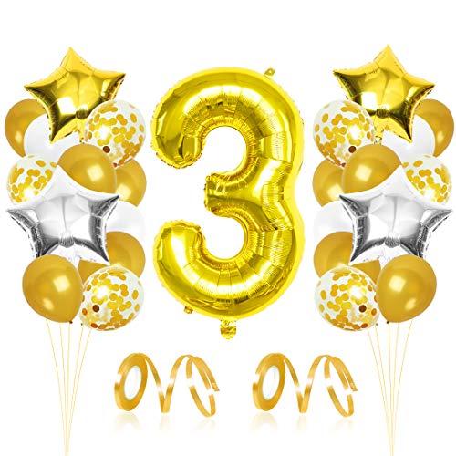 3er Cumpleaños Globos, Decoración de cumpleaños 3 en Oro, Feliz cumpleaños Decoración Globos 3 Años, Globos de Confeti y Globos de Aluminio para niñas y Mujeres