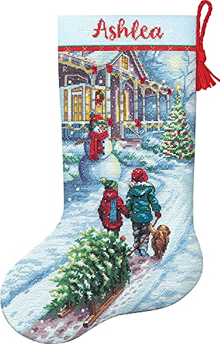 """Dimensions 70-08995 Holiday Tradition DIY Personalizable Christmas Cross Stitch Stocking Kit, 16"""" L, 14 Count Light Blue Aida, Various"""