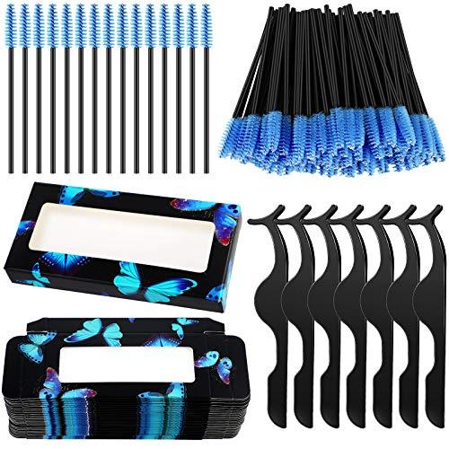 160 Pieces False Eyelash Kit, Include 30 Empty False Eyelash Storage Box, 30 Eyelash Tweezers, 100 Eyelash Brush Mascara Wands (Black Butterfly)
