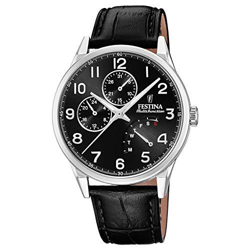 Festina Herren Multi Zifferblatt Quarz Uhr mit Leder Armband F20278/C