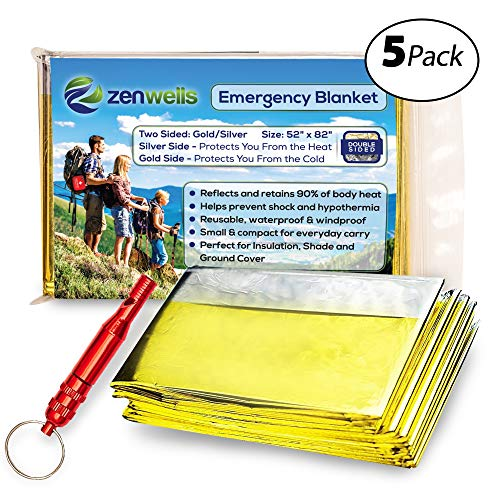 ZENWELLS Solar Blankets (5-Pack) - Mylar Thermal First Aid Blanket for Emergency Survival Kit, Car Tactical Gear, Outdoor, Hiking, Backpack, Travel, Disaster Preparedness Equipment Plus Whistle!