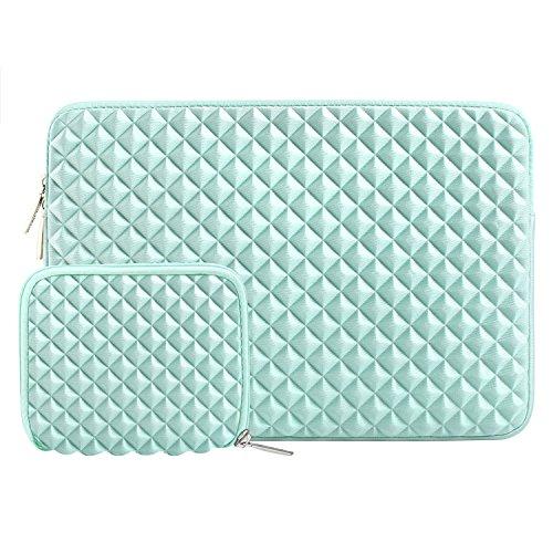MOSISO Sleeve Hülle Tasche Kompatibel mit 13-13,3 Zoll MacBook Air, MacBook Pro, Notebook Computer mit Klein Fall, Diamant-Muster Neopren Laptoptasche mit Klein Fall, Mint Grün