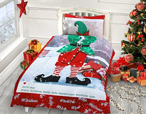 Velosso IHIDIRECT Single Bed Selfie Elf Him Insta Photo Christmas Festive Duvet Cover & Pillowcase Bedding Set