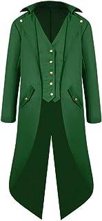 HJHK Giacca da Uomo Cappotti, Gotico Steampunk Vintage Cappotto Tailcoat Lunga Cappotto Uniforme Costume Outwear Halloween...