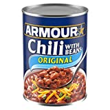 Twelve 14 oz cans of Armour Star Chili with Beans Canned Food Canned chili offers a quick, easy meal with great flavor Chili with beef, pork and beans Enjoy chili with your favorite toppings, or pour it over nachos, hot dogs or rice Can of chili offe...