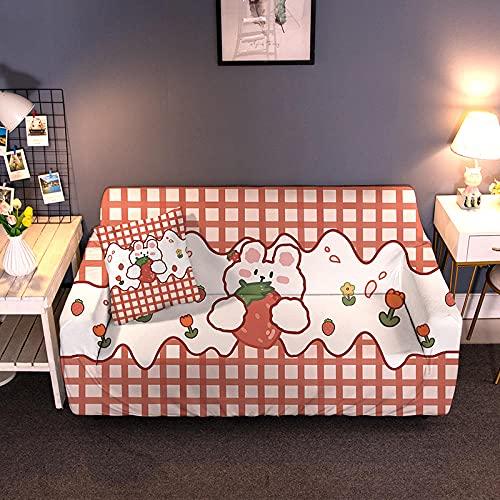 Funda para Sofá Elasticas 2 Plazas 145-185 Cm,Impresión 3D Universal Funda Cubre Sofas,Antideslizante Protector Cubierta de Muebles con 2 Funda de Almohada - Celosía Roja Fresa, Conejo Blanco