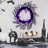 Aesto Black Halloween Wreath with Timer, 20 Inches Halloween Front Door Wreaths, Light-up Purple Bat Wreath Halloween Decoration