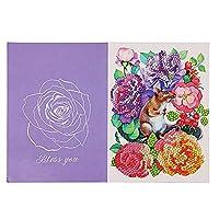 グリーティングカード、DIYダイヤモンド絵画グリーティングカード花誕生日祭祝福ギフト