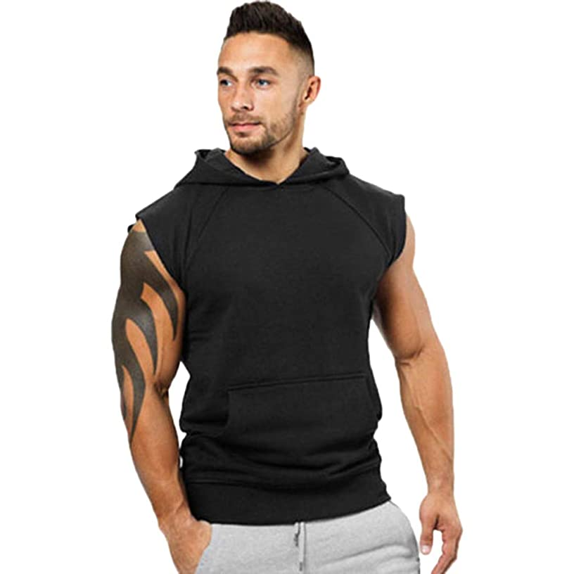 Men's Tank Tops, JOYFEEL ?? Casual Pure Color Slim Fit Hooded Sweatshirt Sleeveless Fitness Muscle Sport Vest Tops