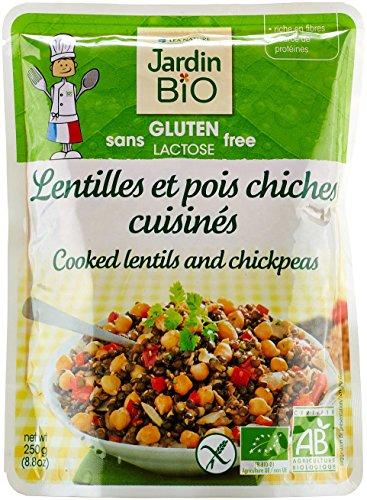 Jardin Bio Lentilles et Pois Chiches Cuisinés sans Gluten 250 g - Lot de 3