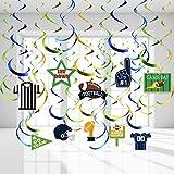 Blulu Decoraciones de Techo de Fiesta Temática de Rugby, Remolinos Colgantes de Fútbol Americano para Decoraciones del Día de Juego de Súper Tazón de Rugby Artículos de Fiestas de Juego Deportivo