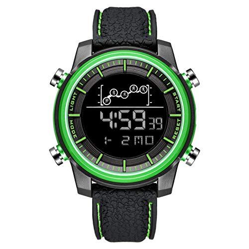 QZPM Relojes Deportivos Digital para Hombre, con Retroiluminación Alarma Resistente Al Agua Digital Multifuncional Grande De La Cara Militar Relojes Electrónicos,Verde