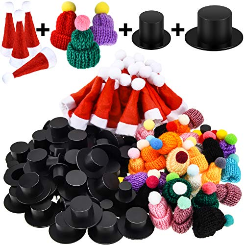 120 Pieces Mini Christmas Knit Hat Mini Red Santa Hat Xmas Black Plastic Christmas Hat Christmas Doll Crafts Hat for Christmas Tree Ornaments DIY Craft Art Decoration