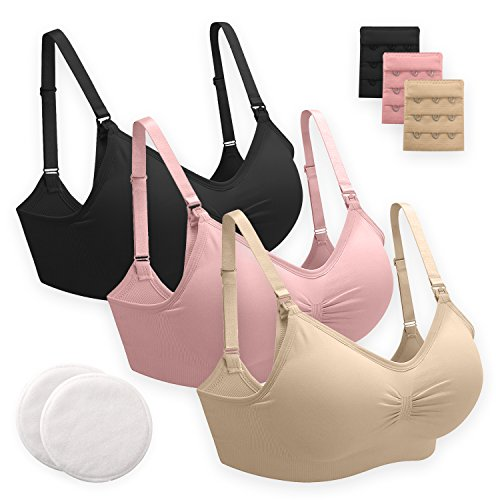 Nursing Bras (3 Pack) One-Hand Access, Adjustable Shoulder Straps, Easy Drop Cups for Motherhood Breastfeeding; Includes Reusable Bamboo Nursing Pads and Bra Extenders