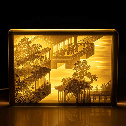 3D Light and Shadow Paper Carving lamp Decoration Finished Ancient Style Three-Dimensional Cultural and Creative Desk lamp Bedside lamp Custom Birthday December Month Order Chart July Button Switch