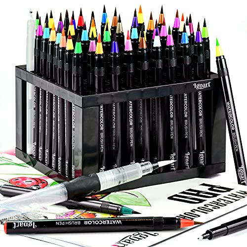 Ignart Watercolor Brush Pens Set - 30 Water Color Markers with Flexible Nylon Brush Tips + Large Size Paper Pad, Pen Holder, Premium Water Brush, Fine liner, White Pen, and Training Videos