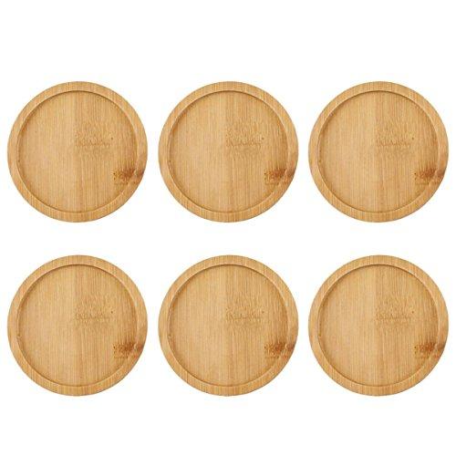 OUNONA, 6 sottovasi rotondi in bambù, adatti a vasi per bonsai e piante grasse, per interni ed esterni, 9,5x 9,5cm
