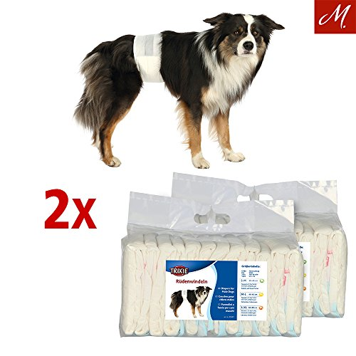 TRIXIE 2X Rüdenwindeln, Hundewindeln - Einwegwindeln, 12 Stück (L-XL, 60-80 cm)