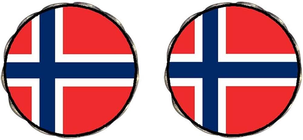GiftJewelryShop Bronze Retro Style Norway flag Photo Clip On Earrings Flower Earrings 12mm Diameter