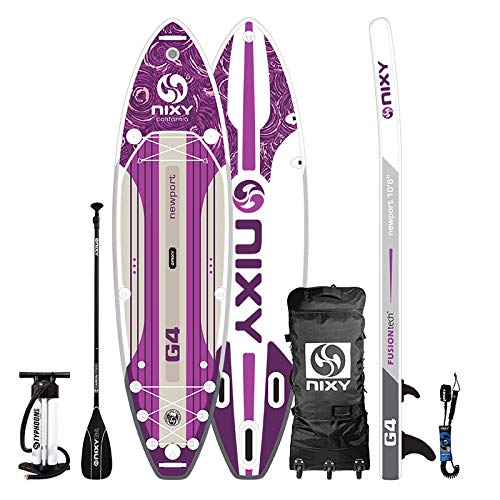 """NIXY Newport Paddle Board All Around Inflatable SUP 10'6"""" x 33"""" x 6"""" Ultra-Light Stand Up Paddleboard Built with Dual Layer Woven Drop Stitch Includes Carbon Hybrid Paddle, Pump, Bag & More (Purple)"""