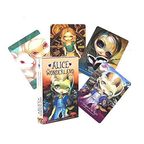 Alice The Wonderland Oracle Cards Deck Mysterious Guidance Divination Fate Tarot Cards Gioco da Tavolo per Famiglia Gioco per Bambini,Deck Game,Only Tarot