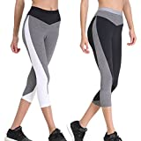 Curve Muse Sports Cropped Yoga Pants for Women – Slim Workout Fitness Wear – 2 Pack-Gray, White-M