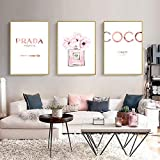 zszy Abstract Canvas Painting Perfume Pink Peony Carteles e Impresiones Cotizaciones Pintura de Perfume Cuadros de Pared para decoración de dormitorio-40x60cmx3 pcs sin Marco