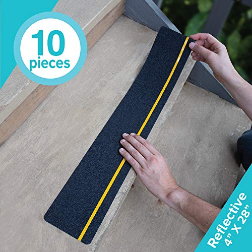 LifeGrip Anti Slip Traction Treads with Reflective Stripe (10-Pack), 4' X 28', Best Grip Tape Grit Non Slip, Outdoor Non Skid Tape, High Traction Friction Abrasive Adhesive for Stairs Step, Black