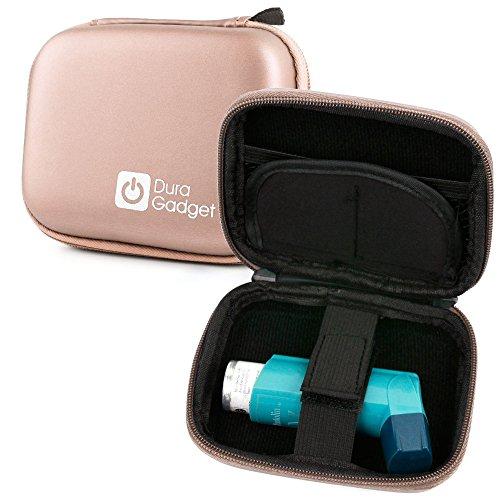 DURAGADGET Rose Gold EVA Shell Case w/Karabijnhaak Clip & Twin Ritsen - Ideaal voor het opbergen van uw Blue Inhalers Relievers voor Astma
