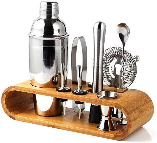 Cretee 10-Teiliges Cocktailshaker 750ML Edelstahl Verdickung Cocktail Shaker Set mit edler verdickter Bambus-Aufbewahrung (Barware Set)