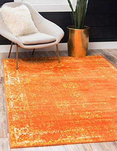 Unique Loom Sofia Collection Traditional Vintage Orange Area Rug (5' x 8')