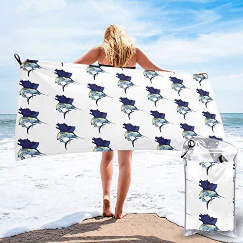 Toalla de baño azul Sailfish, toalla de gimnasio, toalla de playa, uso multiusos para deportes, viajes, súper absorbente, microfibra