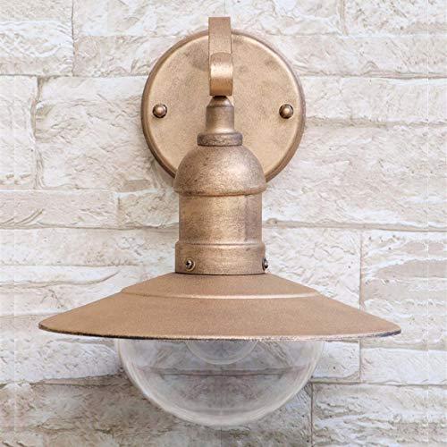 Lámpara de pared exterior en oro rústico, resistente a la intemperie, E27, lámpara de patio exterior, entrada de casa