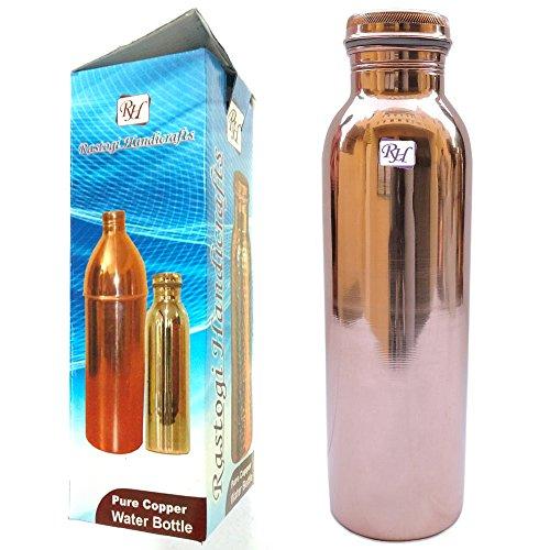 Rastogi handgemachte Wasserflasche aus reinem Kupfer für ayurvedische Gesundheitsvorteile. braun