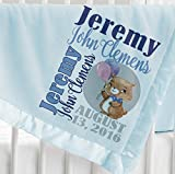 Personalized Baby Blanket ( Light Blue - Personalized ) Super Soft Micro Plush Fleece with Satin Trim with Name Elephant Giraffe Cute Bear Panda Animal Designs