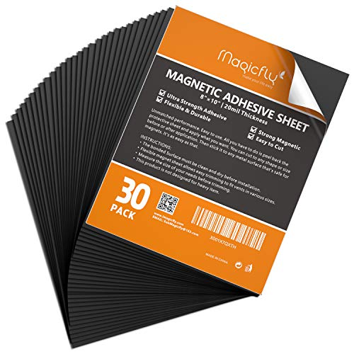 Magnetic Adhesive Sheet 8 X 10 Inch, Magicfly Pack of 30 Flexible Magnet Sheets with Adhesive, Easy Peel and Stick Self Adhesive for Photos Crafts