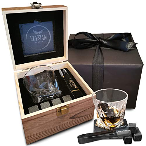 Whiskey Glass Set, Twisted Tumbler Whiskey Glass with 4 Reusable Whiskey...